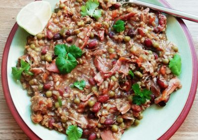 Slow cooked Caribbean Chicken, Beans & Rice